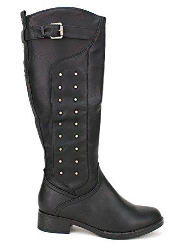 Cendriyon, Botte noire ANASTY Clous Chaussures Femme Noir