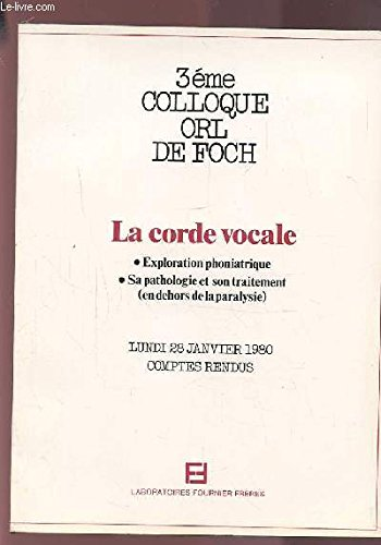 3EME COLLOQUE ORL DE FOCH - LA CORDE VOCALE - EXPLORATION PHONIATRIQUE / SA PATHOLOGIE ET SON TRAITEMENT (EN DEHORS DE LA PARALYSIE) - COMPTE RENDU LUNDI 28 JANVIER 1980.
