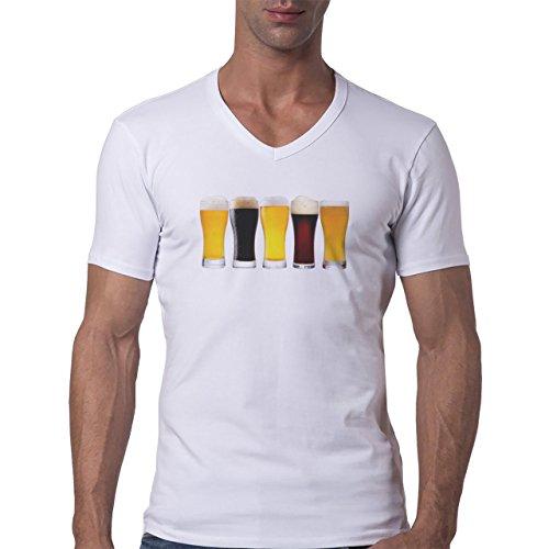 Beer Drink Oktoberfest Glass Five Line Herren V-Neck T-Shirt Weiß