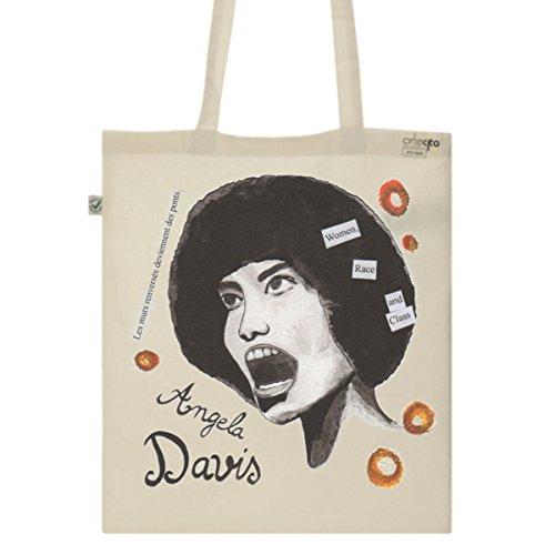 Tote Bag Imprimé Ecru - Toile en coton bio - Angela Davis