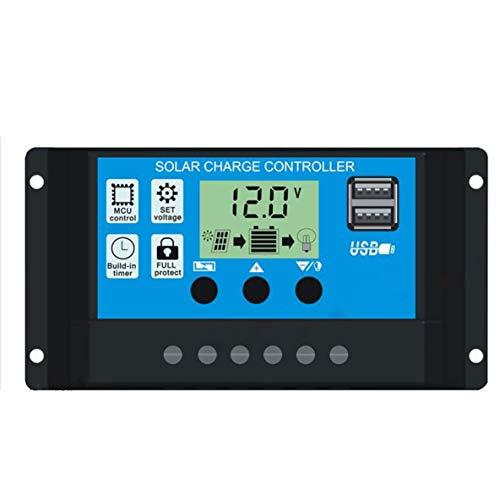 Noradtjcca 20A Solar-Laderegler Sonnenkollektor-Batterie intelligente Regler mit USB-Anschluss Anzeige 12V / 24V