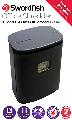 Affordable Swordfish 1600XCD 16 Sheet Cross Cut Paper/Document Shredder with Continuous Shredding Review