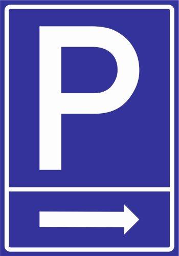 Kiwistar Parkplatzschild - PVC - Pfeil rechts - 42 x 30cm
