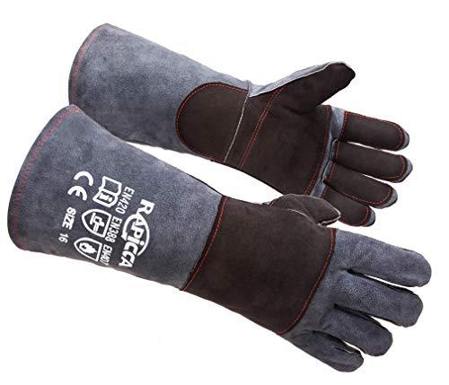 Preisvergleich Produktbild RAPICCA Tierhandschuhe,  bissfest,  Kevlar,  verstärkte Lederpolsterung,  für Hunde,  Katzen,  Vögel,  Falken,  Falkenhandschuhe,  zum Greifen von Reptilien,  Eichhörnchen,  Schlange,  40, 6 cm,  Grau / Schwarz
