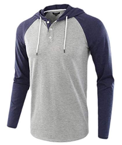 BingSai Herren Casual Kurzarm Raglan Henley Hoodie T-Shirt Kordelzug Kapuze Sweatshirt Gr. L, 7 L/s Henley Hoodie -