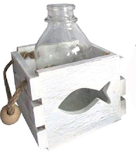 osters muschel-sammler-shop Holzbox mit Glas-Flasche in Beachoptik und Jutebändern/Motiv Fisch - Auch als Windlicht zu benutzen - Maritime Tisch-Dekoration für Drinnen und Draußen (Weiß)