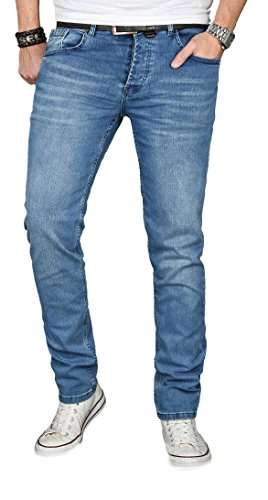 Alessandro Salvarini A. Salvarini Designer Herren Jeans Hose Regular Slim Fit Jeanshose Basic Stretch [AS-053 - W33 L34]