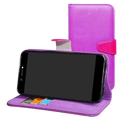 Labanema Archos Core 50 Hülle Case,Lederhülle PU Leder Flip Tasche Handy Schutzhülle Handyhülle mit [Ständer Funktion] Card Holder Kunstleder Cover für Archos Core 50-Violett