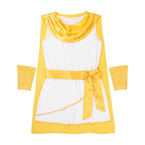 Agoky Herrem Gladiator Gott Kostüm Robe mit Umhang+ Armbänder Halloween Fasching Karneval Verkleidung Cosplay Rollenspiel Outfits Weiß X-Large (Deluxe Caesar Kostüm)