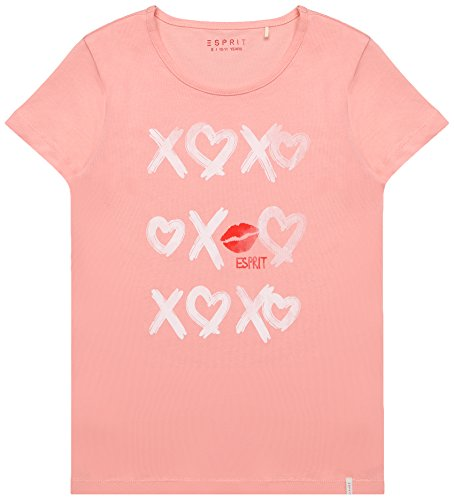 Peach Mädchen-shirt (ESPRIT Mädchen T-Shirt RL1009501, Rosa (Peach 304), 140 (Herstellergröße: S))