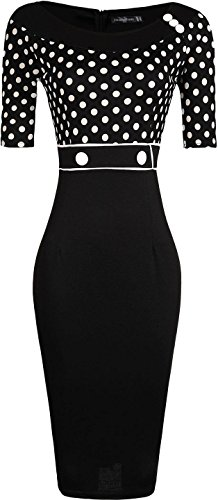 Jeansian Femmes Mode Slim Robe Retro Dots Manches Courtes Slim Occupation Sexy Dress WKD270 Black