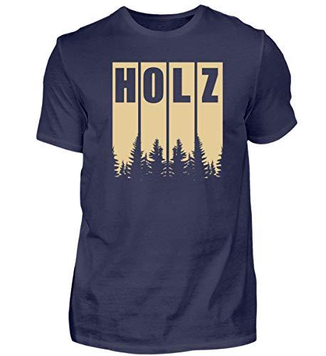 Holz/Kettensäge/König/Baum/Wald/Förster/Holzfäller - Herren Shirt -XL-Dunkel-Blau