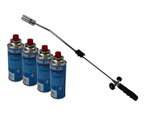 DKB Unkrautbrenner mit Bajonettanschluss Gasbrenner Piezo Zündung Unkrautvernichter Brenner Abflammgerät Einzelnd oder mit Gas (Unkrautbrenner mit 4 Gaskartuschen)