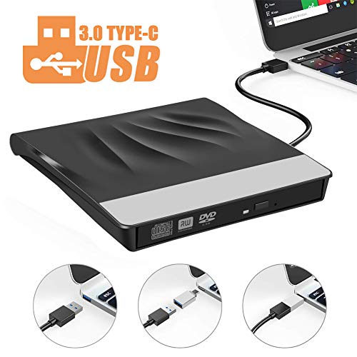 Externe CD DVD Laufwerk,LittleBaby USB 3.0 Type-C Portable(tragbar) USB Typ c Extern Brenner DVD RW Optisches Superdrive Compatible für MacBook Pro/Air/iMac/Laptop/Windows/Chromebook/PC (Chromebook Cd-brenner)