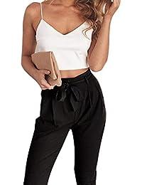 Mujer Set Crop Top Y Pantalon Dos Piezas Verano Elegantes Moda Sin Mangas V  Cuello Sling Regalos Espalda Descubierta Camisas Sin… ea6c4c075de0