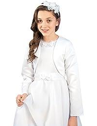 MGT-Shop Mädchen Kommunionbolero Kommunionsbolero Kommunionsjacke Kommunionjacke Cape Bolero Jacke MK-24 weiß