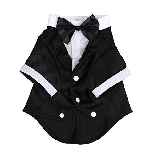 iEFiEL Disfraz Esmoquin para Mascota Perro Traje de Navidad Fiesta Boda Cachorro Chaqueta Invierno Otoño Negro XXL