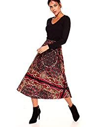 VENCA Jupe en Velours tricoté Foulard plissé imprimé en ... 0bbf90ab8ed8