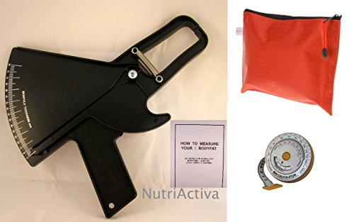 Hautfaltendickenmesser Slim Guide Kit w/Fall, BMI Maßband, Tasche (schwarz)