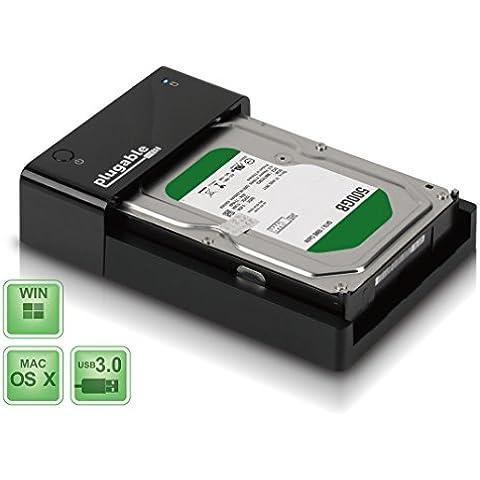 Plugable USB 3.0 SATA III Base de carga de disco duro plano y unidad de estado sólido (ASMedia ASM1053E SATA III a USB admite chipset, UASP y disco duro 6TB+) red eléctrica Reino Unido y UE