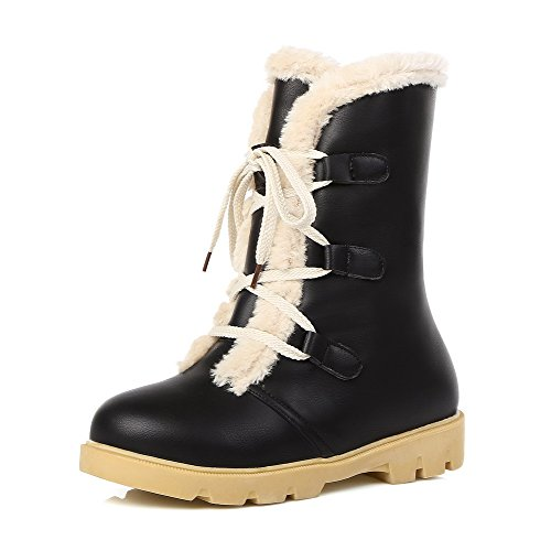 voguezone009-womens-low-top-solid-lace-up-round-closed-toe-low-heels-boots-black-35