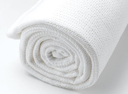 2-Pack-Top-Quality-100-Baby-Cotton-Cellular-Blankets-Cot-Bed-Large-Size-86-x-112cm-White
