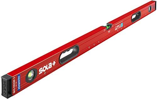 SOLA Big RedM3 magentische Wasserwaage in 180 cm I starker Halt durch Neodym Magnete I mit patentierter SOLA-Focus Libelle und SOLA-Leuchtbelag I mit integrierten Handgriffen I mit 2-K-Endkappen (180)