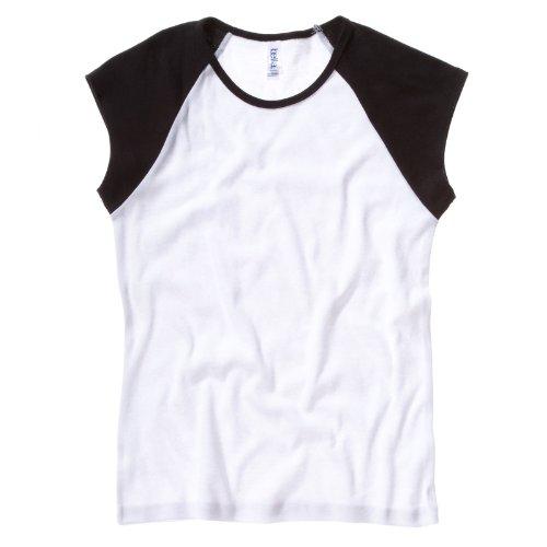 Bella Leinwand Damen Baby Rib Cap Sleeve Baseball Kontrast Raglan T-Shirt weiß/schwarz XL (Baseball-t-shirt Bella)