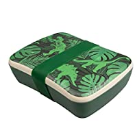 Myga Reusable Eco-Friendly Lunch Box for Adults and Kids - Bamboo Fibre Sandwich Box - Natural Travel Lunchbox with Silicon Strap - Organic Biodegradable BPA Free Lightweight