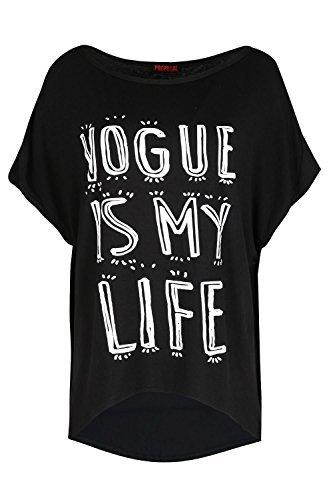 Damen Freizeit Party Baggy Übergröße VOGUE IS MEIN LEBEN Aufdruck Fokuhila Saum Damen T-Shirt Kleid Rundhals Top UK Plus Größen eu 36-50 Schwarz