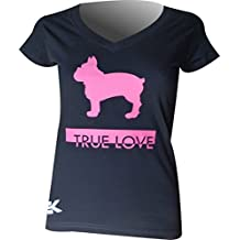 Camiseta Mujer Bulldog FRANCÉS True Love EKEKO, Manga Corta, de Algodon, Muy Comoda