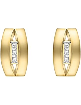 Carissima Gold Damen-Ohrstecker Cubic 3 Band 375 Gelbgold Zirkonia transparent Rundschliff - 1.58.9979