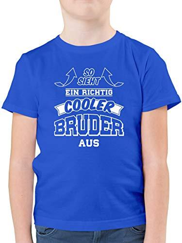 Geschwister Bruder - So Sieht EIN richtig Cooler Bruder aus - 116 (5/6 Jahre) - Royalblau - F130K - Kinder Tshirts und T-Shirt für Jungen