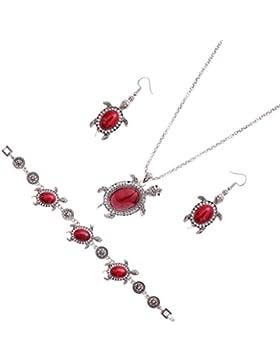 MagiDeal Damen Modische Halskette mit Schildkröte Anhänger + Ohrring und Armband - Schmuck Zubehör