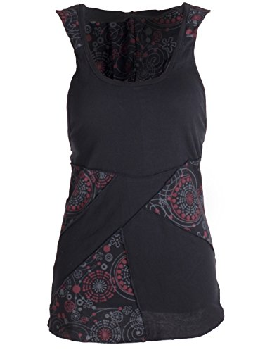 vishes - Alternative Bekleidung - Goa Neckholder Kapuzenshirt aus Jersey Baumwolle im Patchworkdesign schwarz 38 (Gipsy Girl Kostüme)