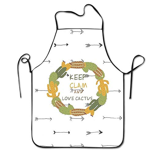 p Clam and Love Cactus ONE Cactus Kitchen Cooking BBQ Apron ()
