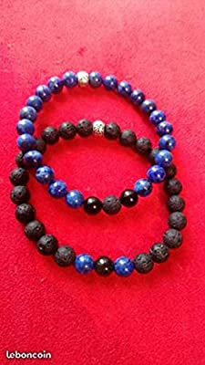 Duo de Bracelet assortie Lapis Lazuli Obsidienne Lave