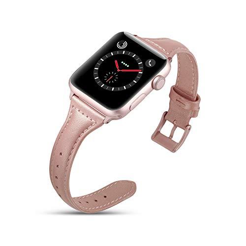 DaGeLon Moda Pelle Cinturino per Apple Watch 44mm Series 5 Serie 4 42mm Serie 3 2 1, Elegante Donna Cuoio Bracciale Cinghia Ricambio retrò Sostituzione per iWatch Sport Edition Nike+, Oro Rosa