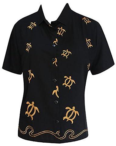 La Leela Strand beiläufige gestickte Bluse der Frauen Knopf unten Tank-Top Kurzarm-Shirt schwarz l