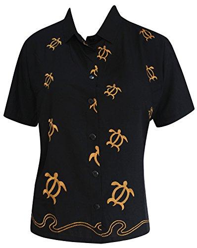 LA LEELA Blusa Bordada Ocasional de Las Mujeres botón de Abajo del Tanque Superior de la Playa Camisa de Manga Corta m Negro