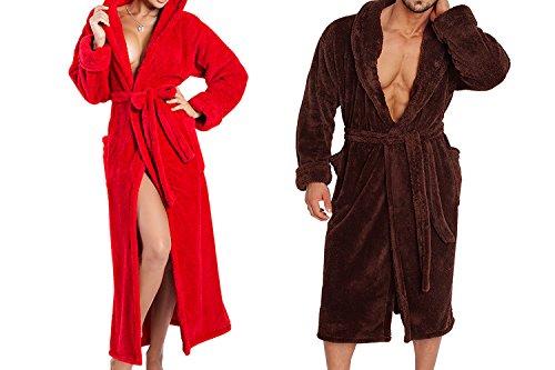 Ein Set bestehend aus 2 Bademänteln ist ein ideales Geschenk, für den gemeinsamen Wohlfühlfaktor in kalten Nächten. (XS-2XL) Schokolade/rot