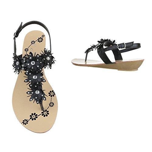 Zehentrenner Damenschuhe Peep-Toe Keilabsatz/ Wedge Zehentrenner Schnalle Ital-Design Sandalen / Sandaletten Schwarz