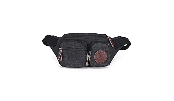 Yzibei Leather Pack Black Waist Bag Travel Hiking Hip Bum Purse