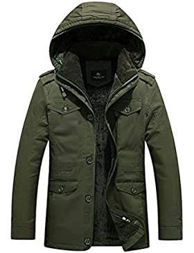 Zhhlaixing Clásico Winter Men's Warm Jackets Outerwear Detachable Hooded Faux Fur Lined