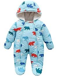 Bebé Traje de Nieve Niño Invierno Cálido Mameluco con Capucha Guantes Ropa  Jumpsuit Recién Nacido de 09c3fd9ff97
