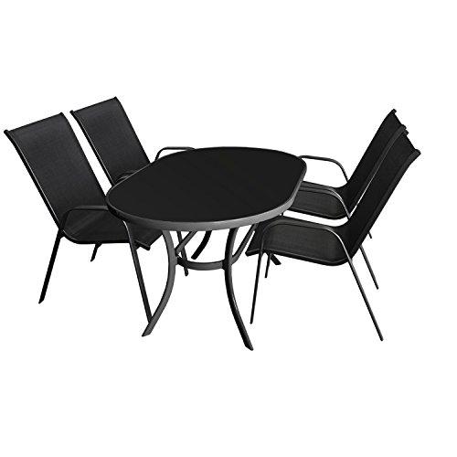 5tlg. Sitzgruppe Gartengarnitur Gartenmöbel Terrassenmöbel Set Sitzgarnitur - Glastisch, 140x90cm, Anthrazit + 4x Gartenstuhl, stapelbar, Schwarz