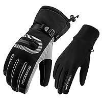 ROCKBROS Snow Gloves Men Winter Outdoor Ski Snowboarding Gloves Thermal Fleece Windproof Cold Weather Gloves
