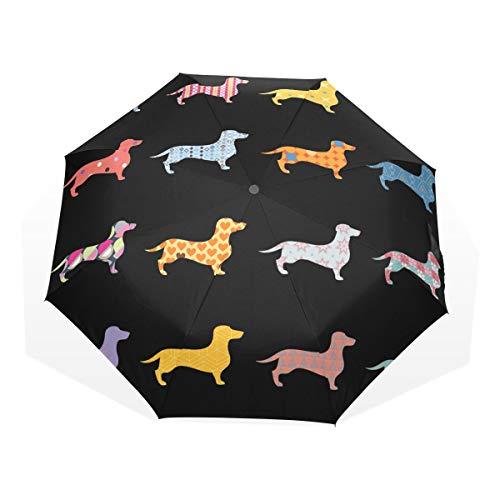 3 Falten Regenbogen Hunde Dackel Tiermuster Winddicht Auto Öffnen Schließen Leichte Anti-UV ()