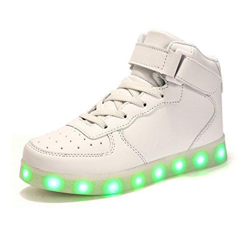 AFFINEST Alta Top USB ricarica LED lampeggiante moda scarpe per bambiniper le ragazze e ragazzi(bianca,36)