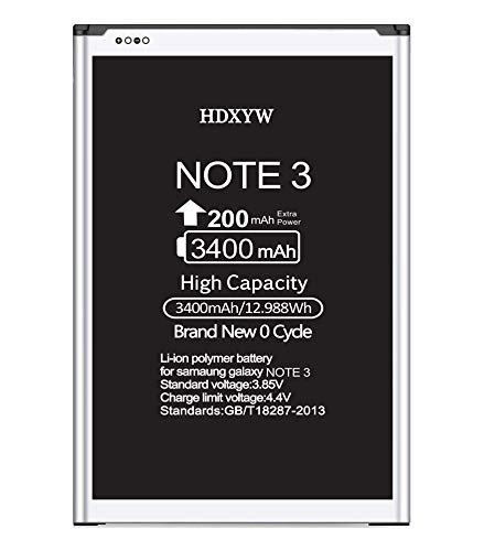 HDXYW für Samsung Galaxy Note 3 Ersatz Akku, 3400mah Verbesserte Handy-Akku Ersatz Hochleistungsakku Funktioniert mit Note 3